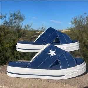 ⭐️ New Converse One Star Navy Blue Slides ⭐️